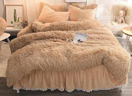 55 solid camel quilting bed skirt super soft 4 piece fluffy bedding sets duvet cover
