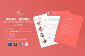 Diamond Resume Cv 3 Piece Resume Resume Templates Creative