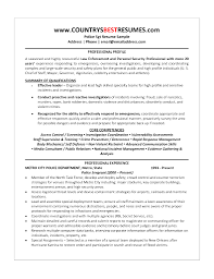Law Enforcement Resume Template Format Federal Sample Curriculum