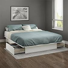 Queen Storage Platform Bed Frame With 2 Drawers White Full Size Wood Decor Style