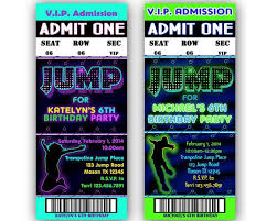 Concert Ticket Invitations Template Interesting Printable Jump Birthday Invitation Trampoline Park Party Bouncey
