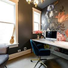 wallpapered office home design. Exellent Home Skin Interior Design  White Marble Desk With Jewel Blue Velvet Chair For Wallpapered Office Home L