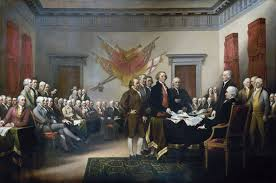 american revolution founding fathers listen to the draft of the declaration of independence