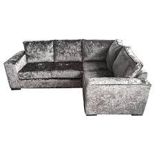 ortrand fixed back grey crushed velvet corner sofa
