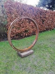 garden sculpture thin steel ring