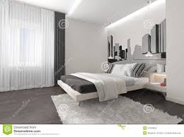 Modern Bedroom Interior Modern Bedroom Interior With Dark Curtains Stock Photo Image