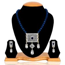 blue gem american diamond pendant necklace with pearls