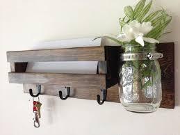 Rustic mail organizer key rack with mason jar, wall mail sorter and key  holder,
