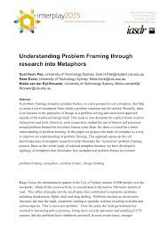 Design Thinking Framing The Problem Pdf Understanding Problem Framing Through Research Into