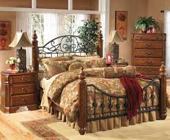 Affordable Traditional Metal Bed with Wood Posts by Ashley Furniture