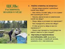 Реферат и презентация на тему Питательный лечебный мёд  слайда 2 ЦЕЛЬ РАСШИРИТЬ ЗНАНИЯ О МЁДЕ 1 Найти ответы на вопросы Когда люди