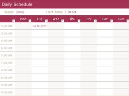 plan daily schedule daily schedule office templates