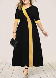 Modlily Size Chart Plus Size Button Detail High Waist Dress Modlily Com Usd 33 83