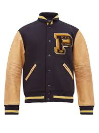 Designer Mens Letterman Jacket Leather And Wool Blend Varsity Jacket Polo Ralph Lauren