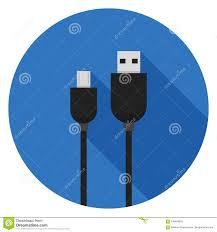 Micro Usb Design Micro Usb Cables Icon In Flat Design Stock Illustration