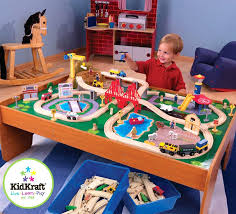 kidcraft wooden train table a kidkraft and 120 piece waterfall mountain set