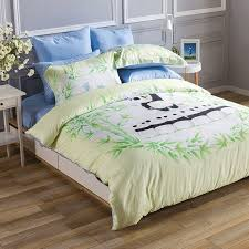 boys black white and emerald green panda and bamboo print jungle safari animal themed twin full queen size bedding sets
