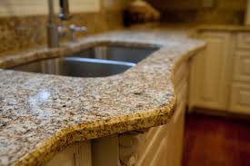 traditional kitchen with granite countertop triple pencil edges