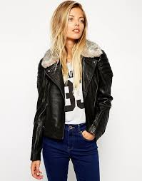 ASOS | ASOS Leather Biker Jacket With Quilt Detail And Faux Fur Collar &  Adamdwight.com