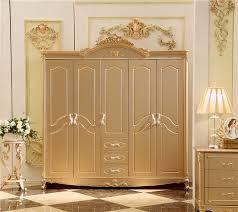 Antique Solid Wood Wardrobe Design Wooden Bedroom Furniture 5 Doors Closet  Cabinets