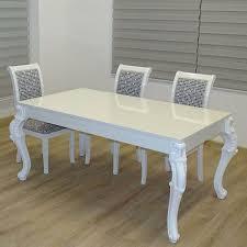Euro Tische Esstisch 160 X 90 X 75 Cm Weiß Hochglanz Lack