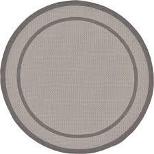unique loom outdoor border gray 6 x 6 round rug