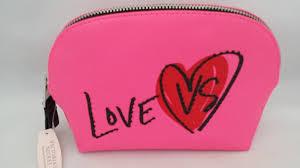 details about love vs victoria s secret pink zip makeup cosmetic bag case pouch valentine nwt