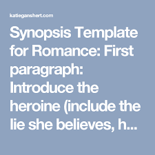 Event Synopsis Template Synopsis Template For Romance First Paragraph Introduce