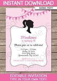 barbie party invitations birthday perfect diy birthday invitations templates