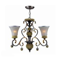 antique copper and matte glass shades chandelier 10144