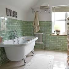 best way to clean bathroom. Green Bathroom Wall Tiles With White Rug And Elegant Clawfoot Tub For Impressive Interior Design. Tiles: The Best Way To Clean