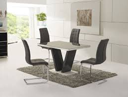ga vico gloss grey glass top designer 160cm dining set 4 6 grey white chairs