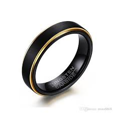 whole cool simple men s black gold rings top quality tungsten steel steel male finger ring party wedding fashion jewelry ring gifts eternity rings