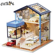 CUTEBEE Doll House Miniature DIY Dollhouse With Furnitures Wooden House  Toys For Children Birthday Gift A061