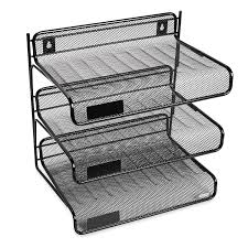 office paper holders. Amazon.com : Rolodex Mesh Collection 3-Tier Desk Shelf, Letter-Size, Black (22341) Office Trays Products Paper Holders E