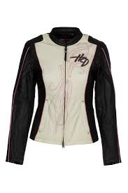 harley davidson 97010 14vw womens pink label colorblocked black leather jacket