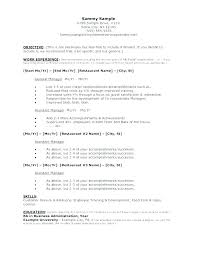 Objective For Resume For Restaurant