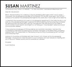 Housekeeping Manager Cover Letter Sample Cover Letter