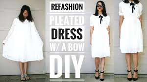 Upcycle Old Clothes Diy Pleated Dress W A Bow Refashion How To Upcycle Old Clothes