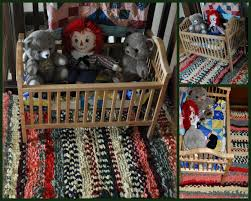rag rug under cradle collage