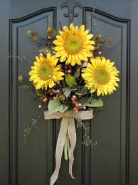 Front Door Decorating Endearing Summer Front Door Decoration With Yellow Sunflower