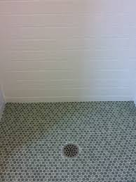 1 2 penny round glass mosaic shower floor