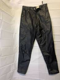 womens stefano leather jogger pants italy jeans black size 14