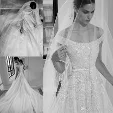 elie saab 2019 beaded wedding dresses crystal off the shoulder beach a line bridal gowns chapel train robe de mariée wedding gowns coloured