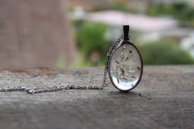 medium real dandelion bohemian jewelry statement clear glass necklace terrarium necklace botanical jewelry woodland pendant