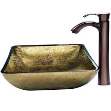 vigo vgt157 rectangular copper glass vessel bathroom sink set with otis vessel faucet in oil rubbed bronze