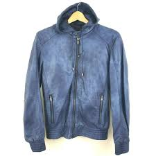 details about zara man faux leather jacket hoo motorcycle er coat blue size small
