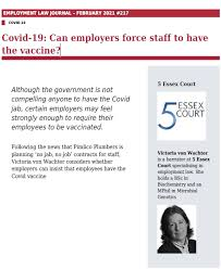 Victoria has recorded 148 new cases of coronavirus and eight more deaths, continuing the declining trend of new infections. Covid 19 Can Employers Force Staff To Have The Vaccine Victoria Von Wachter Writes For Employment Law Journal 5 Essex Court