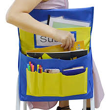 Chair Storage Pocket Chart Godery Chairback Buddy Pocket Chart Canvas Seatback Stuff Storage Pocket Home Classroom Group Team Organizers For Child Blue Yellow