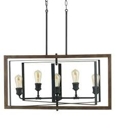 5 light black gilded iron linear chandelier